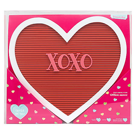 "American Crafts Damask Love Valentine's Day Heart Letterboard, 12-3/4""H x 14""W x 1-3/4""D, Red"