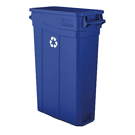 """Suncast Commercial Narrow Rectangular Resin Trash Can, With Handles, 23 Gallons, 30""""H x 11""""W x 22""""D, Blue Recycle"""