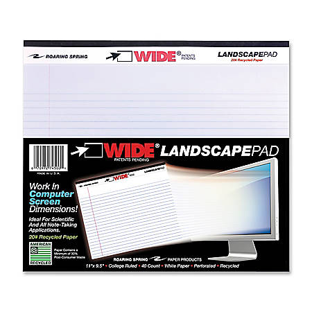 WIDE Landscape Format Writing Pad, Medium/College Rule, 11 x 9.5, White, 40 Sheets