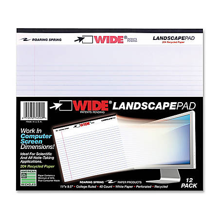 "Roaring Spring Wide® 30% Recycled Landscape Writing Pad, 11"" x 9 1/2"", College Ruled, 40 Sheets, White"