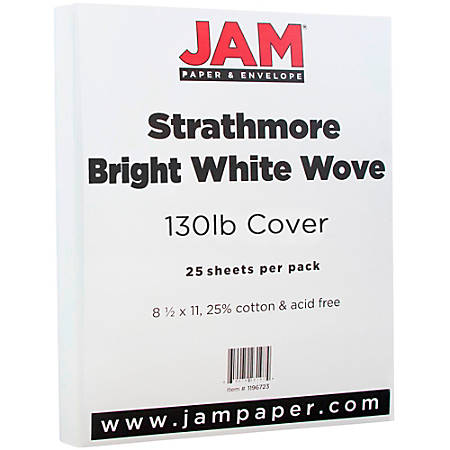 """JAM Paper® Cover Card Stock, 8 1/2"""" x 11"""", 130 Lb, Strathmore Bright White Wove, Pack Of 25 Sheets"""