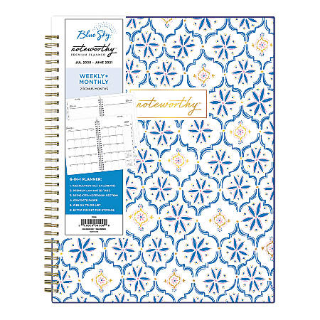 """Blue Sky™ Noteworthy Academic Weekly/Monthly Planner, 8-1/2"""" x 11"""", Fortuna, July 2020 To June 2021, 119023"""