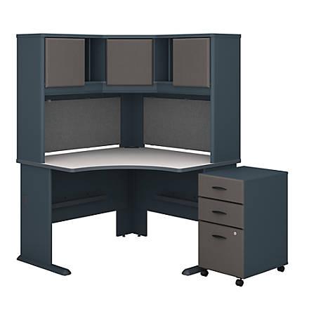 """Bush Business Furniture Office Advantage 48""""W Corner Desk With Hutch And Mobile File Cabinet, Slate/White Spectrum, Premium Installation"""