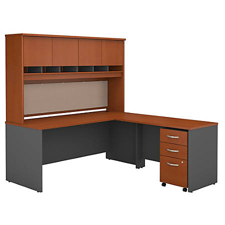 "Bush Business Furniture Components 72""W L-Shaped Desk With Hutch And Mobile File Cabinet, Auburn Maple/Graphite Gray, Premium Installation"