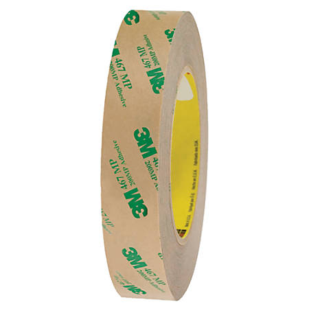 """3M™ 467MP Adhesive Transfer Tape, 3"""" Core, 1"""" x 60 Yd., Clear, Case Of 36"""