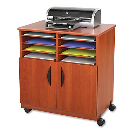 """Safco® Mobile Machine Stand With Sorter, 30 1/2""""H x 28""""W x 19 3/4""""D, Cherry"""