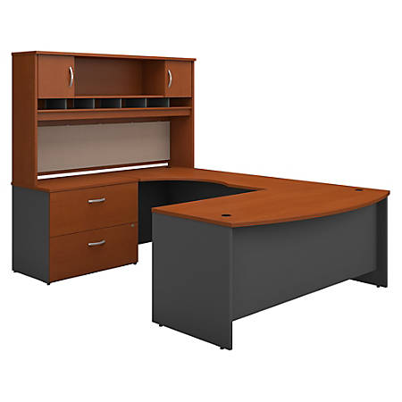 "Bush Business Furniture Components 72""W Left-Handed Bow-Front U-Shaped Desk With Hutch And Storage, Auburn Maple/Graphite Gray, Premium Installation"