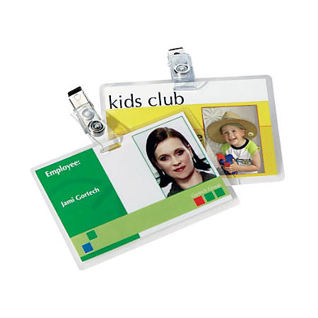 Fellowes Glossy Pouches - ID Tag punched with clip, 5 mil, 25 pk - Laminating Pouch/Sheet Size: 5 mil Thickness - Glossy - for ID Badge - Durable, Easy to Use - Clear - 25 / Pack
