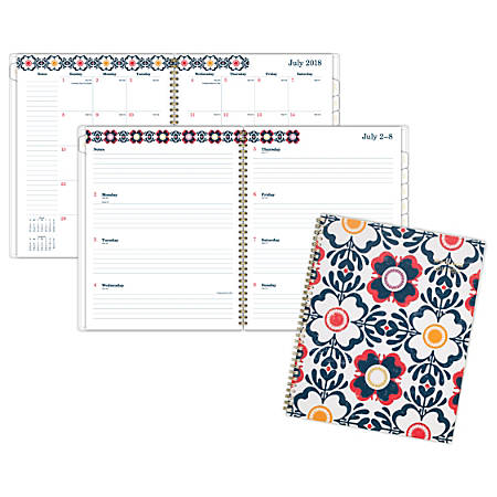 "AT-A-GLANCE® Fiona Academic Weekly/Monthly Planner, 8 1/2"" x 11"", 30% Recycled, Blue/Orange/Red/Yellow, July 2018 to June 2019"