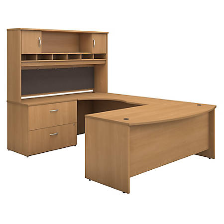 """Bush Business Furniture Components 72""""W Left-Handed Bow-Front U-Shaped Desk With Hutch And Storage, Light Oak, Premium Installation"""