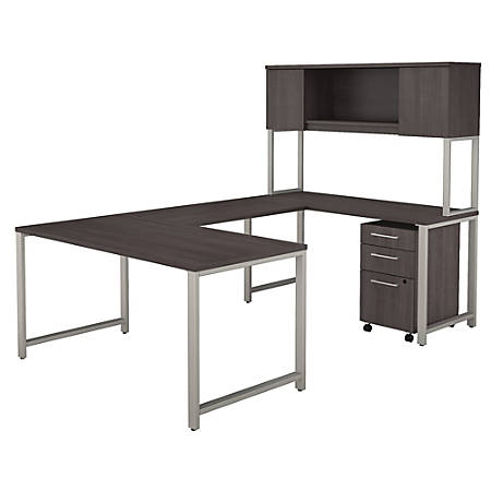 """Bush Business Furniture 400 Series U Shaped Table Desk with Hutch and 3 Drawer Mobile File Cabinet, 60""""W, Storm Gray, Premium Installation"""