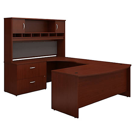 """Bush Business Furniture Components 72""""W Left-Handed Bow-Front U-Shaped Desk With Hutch And Storage, Mahogany, Premium Installation"""