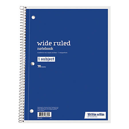 """Just Basics® Spiral Notebook, 7 1/2"""" x 10 1/2"""", Wide Ruled, 140 Pages (70 Sheets), Blue"""