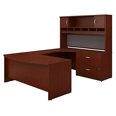 """Bush Business Furniture Components 72""""W Right-Handed Bow-Front U-Shaped Desk With Hutch And Storage, Mahogany, Premium Installation"""