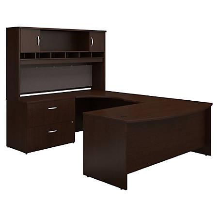"""Bush Business Furniture Components 72""""W Left-Handed Bow-Front U-Shaped Desk With Hutch And Storage, Mocha Cherry, Premium Installation"""