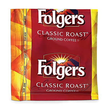 Folgers Classic Roast Coffee Fraction Packs, 1.5 Oz, Pack Of 42 Packs