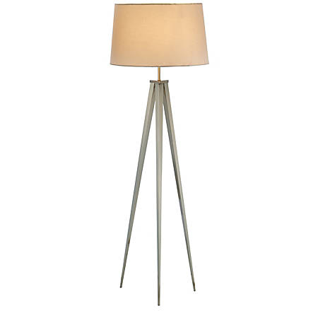 "Adesso® Producer Floor Lamp, 62""H, Off-White Shade/Steel Base"