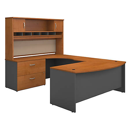 "Bush Business Furniture Components 72""W Left-Handed Bow-Front U-Shaped Desk With Hutch And Storage, Natural Cherry/Graphite Gray, Premium Installation"