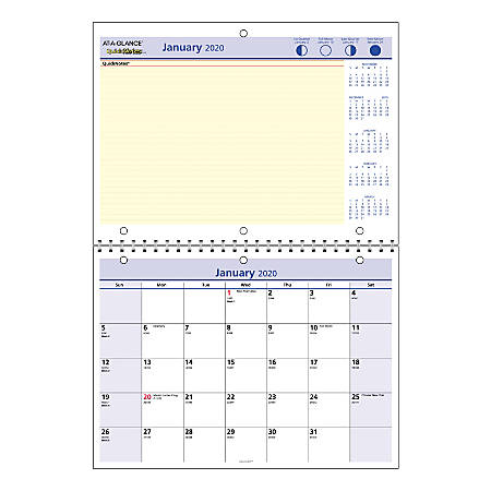 """AT-A-GLANCE® QuickNotes® Monthly Desk/Wall Calendar, 11"""" x 8"""", January To December 2020, PM5028"""