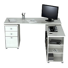 Inval L Shaped Computer Workstation Washed