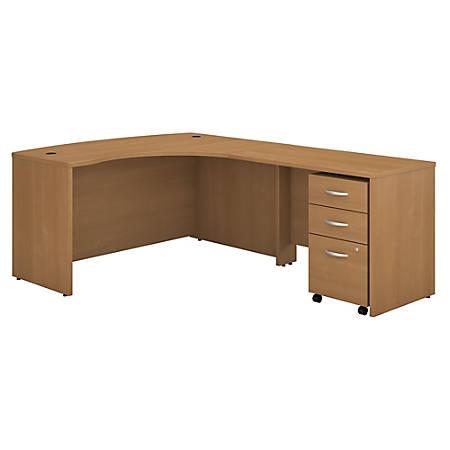 Bush Business Furniture Components Right-Handed L-Shaped Desk With Mobile File Cabinet, Light Oak, Premium Installation