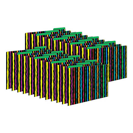 Barker Creek Tab File Folders, Letter Size, Neon Stripes, Pack Of 24 Folders