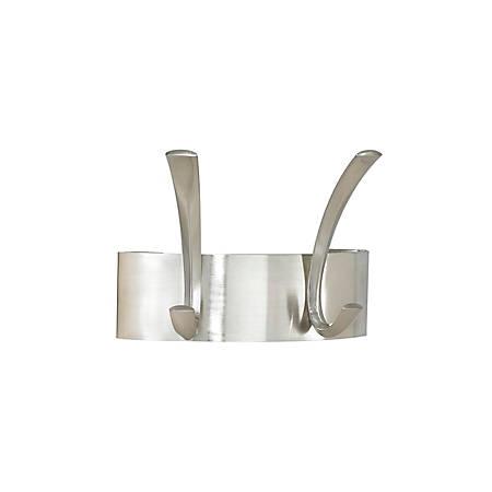 Safco Wall Mounted Metal Coat Racks - 2 Hooks - for Hat, Coat - Metal, Steel - Silver - 1 / Each