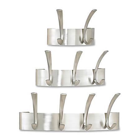 Safco Wall Mounted Metal Coat Racks - 3 Hooks - for Hat, Coat - Metal, Steel - Silver - 1 / Each