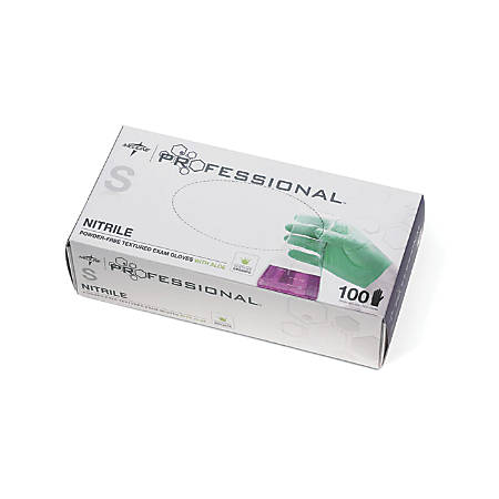 Medline Professional Powder-Free Nitrile Exam Gloves With Aloe, Small, Green, 100 Gloves Per Box, Case Of 10 Boxes