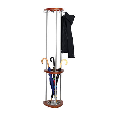 "Safco® Mode 9-Hook Coat Rack With Umbrella Stand, 68 3/4""H x 14 1/2""W x 14 1/2""D, Cherry"