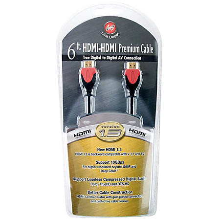 Link Depot HDMI Cable - 6 ft HDMI A/V Cable for Audio/Video Device - HDMI (Type A) Male Digital Audio/Video - HDMI (Type A) Male Digital Audio/Video