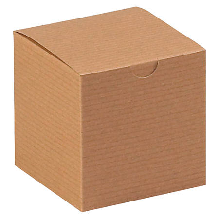 """Office Depot® Brand Gift Boxes, 4""""L x 4""""W x 4""""H, 100% Recycled, Kraft, Case Of 100"""