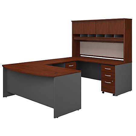 "Bush Business Furniture 72""W Bow-Front U-Shaped Desk With Hutch And Storage, Hansen Cherry/Graphite Gray, Premium Installation"