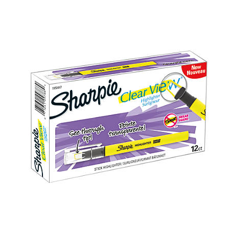 Sharpie® Clear View Stick Highlighters, Yellow, Pack Of 12