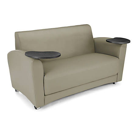 """OFM Interplay-Series Double-Table Sofa, 33""""H x 82""""W x 32 1/2""""D, Taupe/Tungsten"""