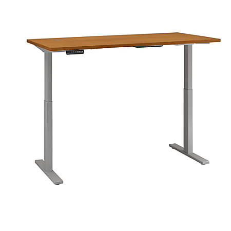 "Bush Business Furniture Move 60 Series 60""W x 24""D Height Adjustable Standing Desk, Natural Cherry/Cool Gray Metallic, Premium Installation"