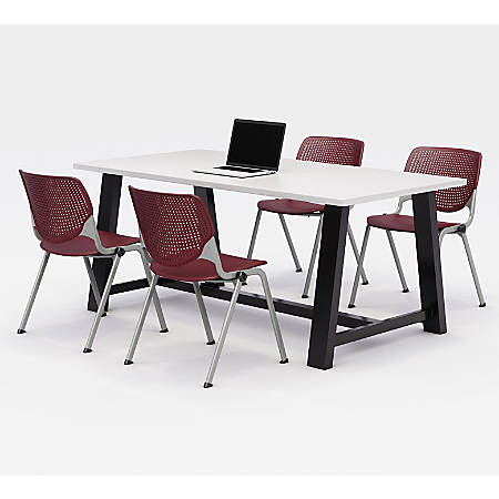 KFI Studios Midtown Table With 4 Stacking Chairs, Designer White/Burgundy