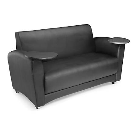 """OFM Interplay-Series Double-Table Sofa, 33""""H x 82""""W x 32 1/2""""D, Black/Tungsten"""