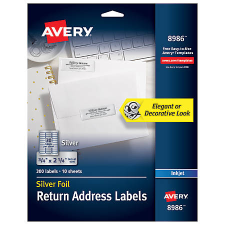 """Avery® Permanent Inkjet Foil Mailing Labels, 8986, 3/4"""" x 2 1/4"""", Silver, Pack Of 300"""