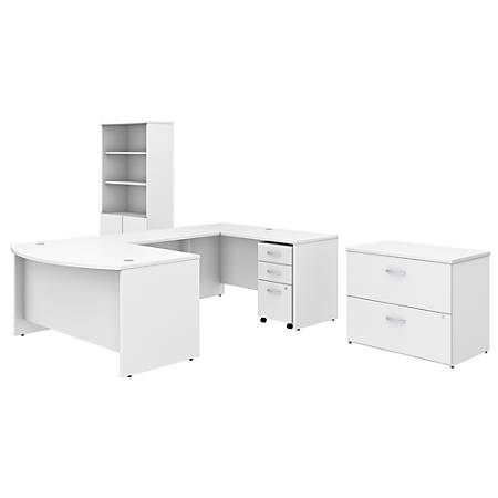 """Bush Business Furniture Studio C 60""""W x 36""""D U Shaped Desk with Bookcase and File Cabinets, White, Standard Delivery"""