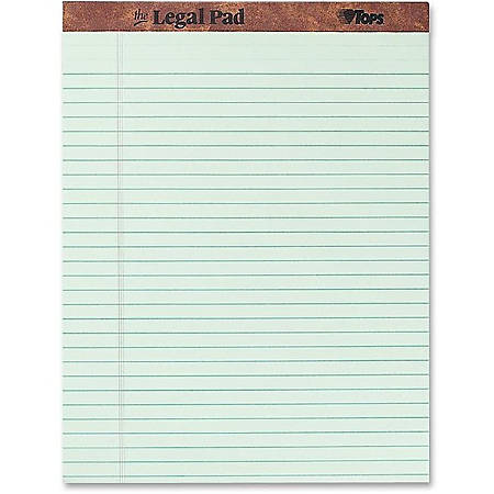 """TOPS™ Docket™ Writing Pads, 8 1/2"""" x 11 3/4"""", Legal Ruled, 50 Sheets, Green, Pack Of 12 Pads"""