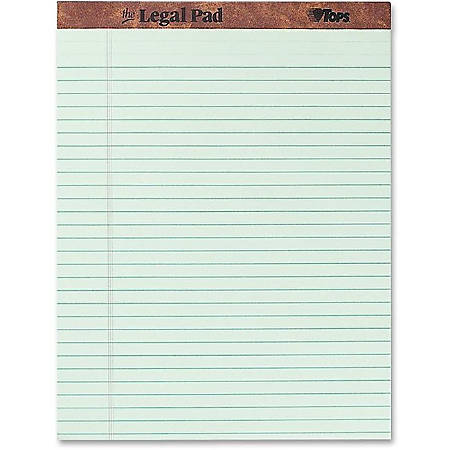 "TOPS™ Docket™ Writing Pads, 8 1/2"" x 11 3/4"", Legal Ruled, 50 Sheets, Green, Pack Of 12 Pads"