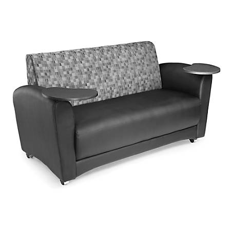"""OFM Interplay-Series Double-Table Sofa, 33""""H x 82""""W x 32 1/2""""D, Nickel/Black/Tungsten"""