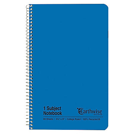 """Esselte® 100% Recycled, Wirebound Notebook, College Ruled, 80 Sheets, 6"""" x 9 1/2"""", Blue"""