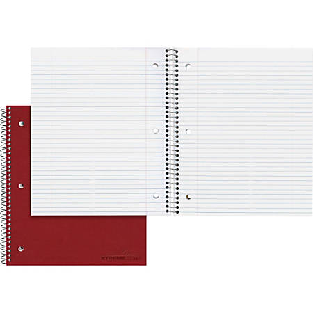 "Rediform The Stuffer Wirebound Notebook - 100 Sheets - Wire Bound - Ruled - 16 lb Basis Weight - 8 7/8"" x 11"" - White Paper - Assorted Cover - Pressboard Cover - Micro Perforated, Pocket, Repositionable, Punched - 1Each"