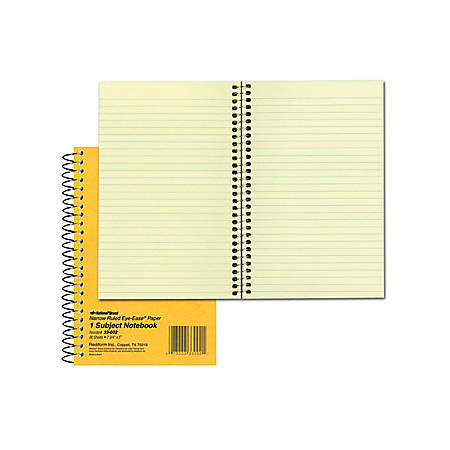 "Rediform Brown Board 1-Subject Notebooks - 80 Sheets - Coilock Red Margin - 16 lb Basis Weight - 5"" x 7 3/4"" - Green Paper - Brown Cover - Board Cover - Micro Perforated, Subject, Punched - 1Each"