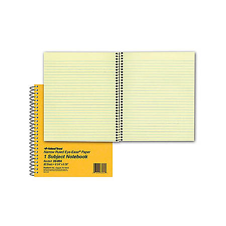 "Rediform Brown Board 1-Subject Notebooks - 80 Sheets - Coilock Red Margin - 16 lb Basis Weight - 6 7/8"" x 8 1/4"" - Green Paper - Brown Cover - Board Cover - Micro Perforated, Subject, Punched - 1Each"