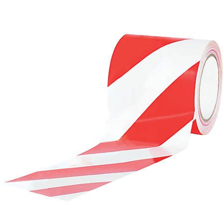 """BOX Packaging Striped Vinyl Tape, 3"""" Core, 4"""" x 36 Yd., Red/White, Case Of 12"""
