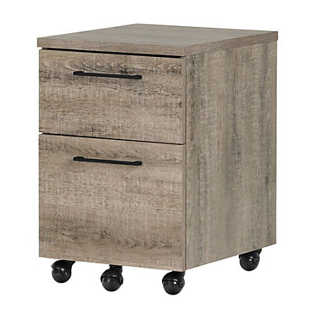 South Shore Munich Letter-Size/Legal-Size Mobile File Cabinet, 2 Drawers, Weathered Oak