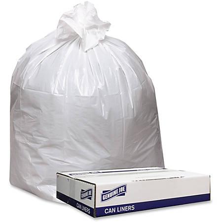 Genuine Joe Heavy-Duty Trash Bags, 33 Gallons, White, Box Of 100